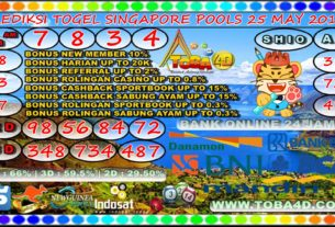 PREDIKSI SINGAPORE POOLS 25 MAY 2019