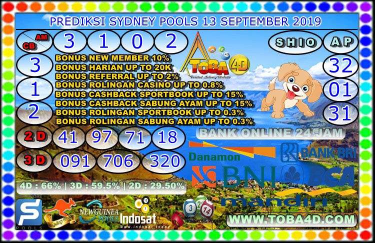 PREDIKSI SYDNEY POOLS 13 SEPTEMBER 2019